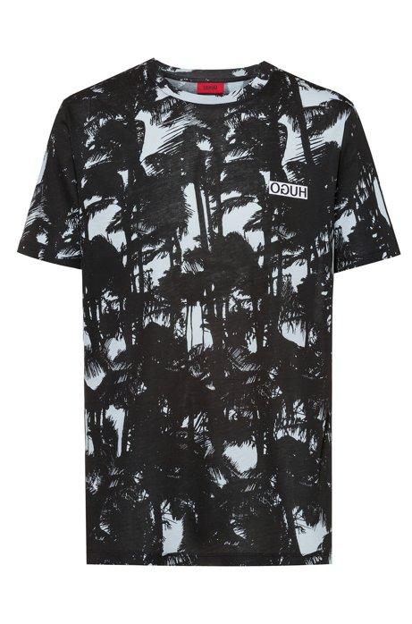 Palm-tree print T-shirt in cotton jersey, Light Green