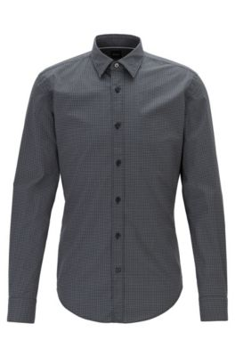 Slim-fit shirt in stretch poplin with exclusive print, Black