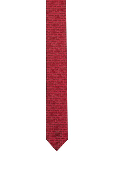 Jacquard-woven silk tie with reverse-logo motif, Open Pink
