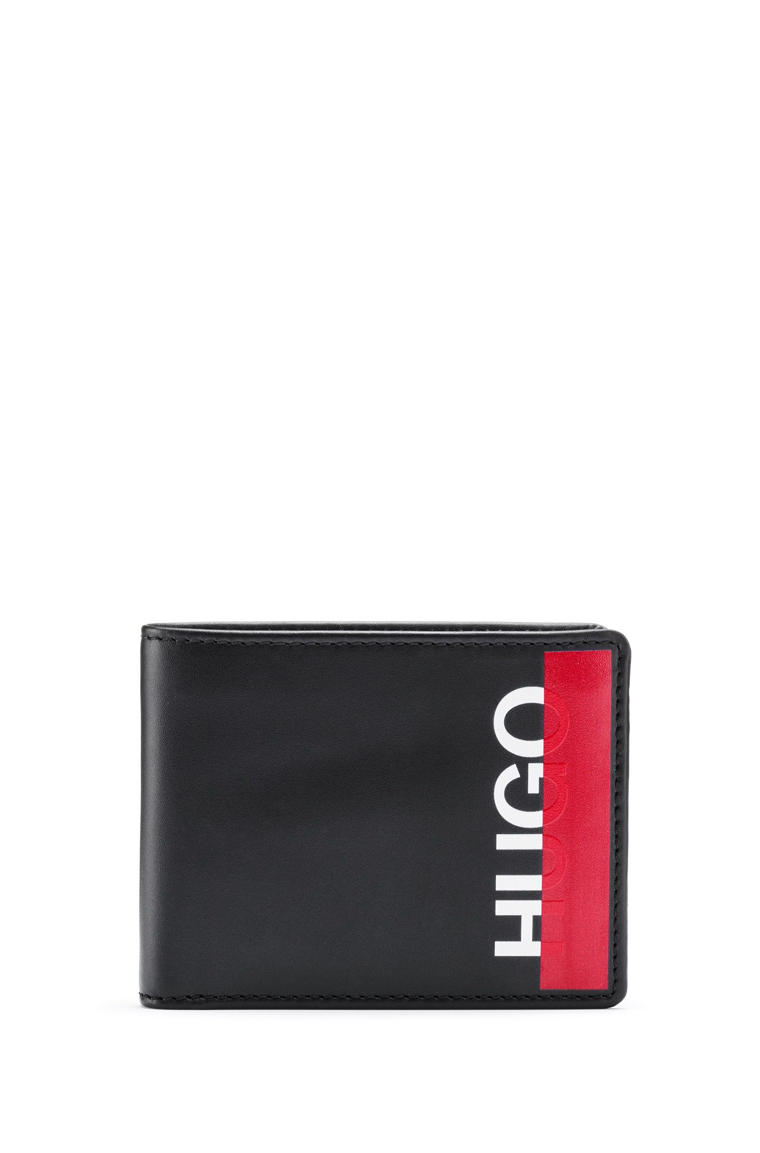 Billfold wallet in smooth leather with partially concealed logo, Black