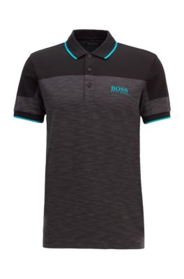 Regular-fit polo shirt with contrast panels, Black