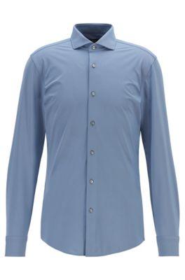 Slim-fit shirt in Italian performance-stretch fabric, Dark Blue