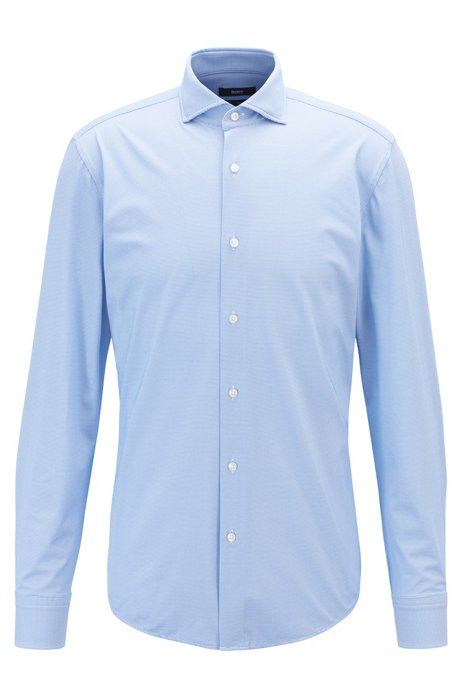 Slim-fit shirt in Italian performance-stretch fabric, Blue
