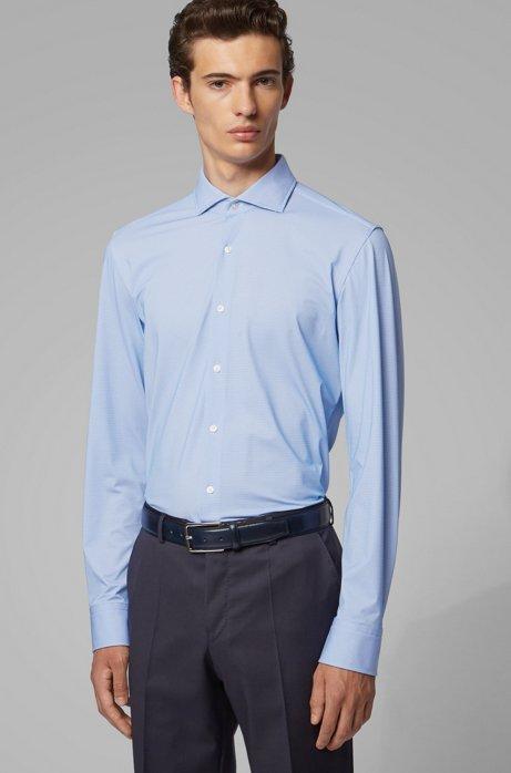 Slim-fit shirt in Italian performance-stretch fabric, Blue