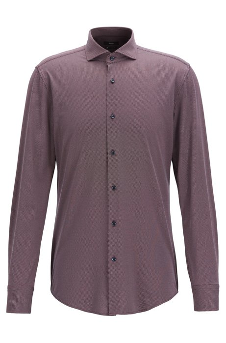 Travel Line slim-fit shirt in micro-structured stretch fabric, Dark Red
