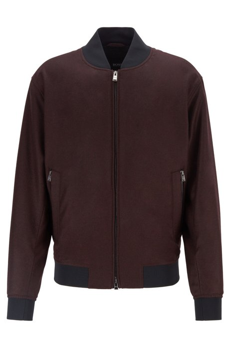 Blouson-style bomber jacket in virgin-wool flannel, Dark Red