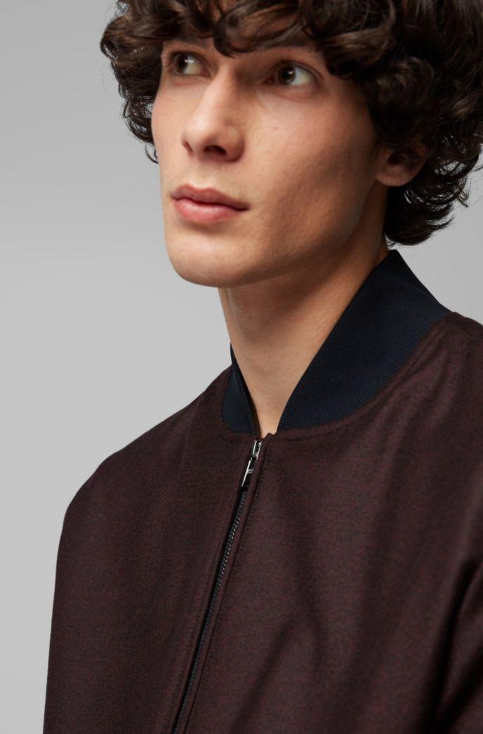 Blouson-style bomber jacket in virgin-wool flannel