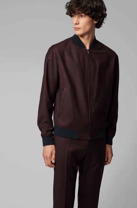 Blouson-style bomber jacket in virgin-wool flannel, Dark Red
