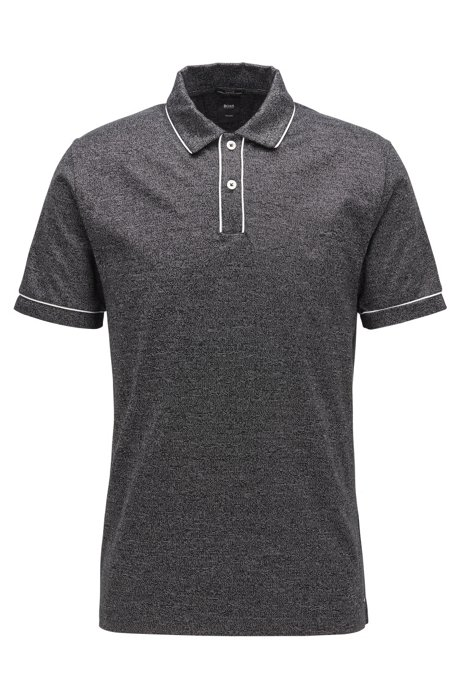 Slim-fit polo shirt in Italian mouliné cotton, Black