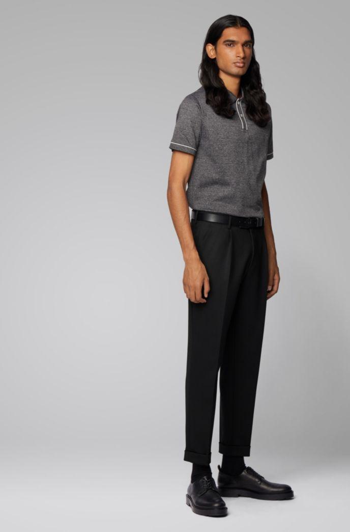 Slim-fit polo shirt in Italian mouliné cotton
