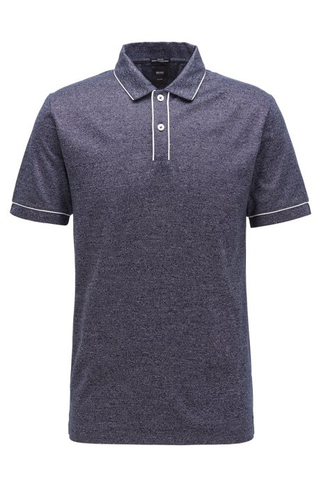 Slim-fit polo shirt in Italian mouliné cotton, Dark Blue