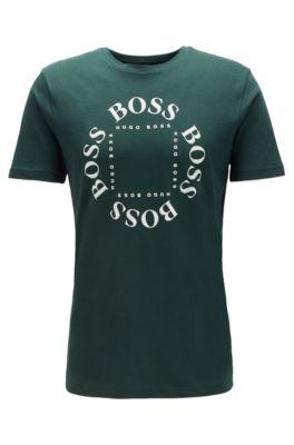 Cotton-jersey T-shirt with new-season logo, Open Green