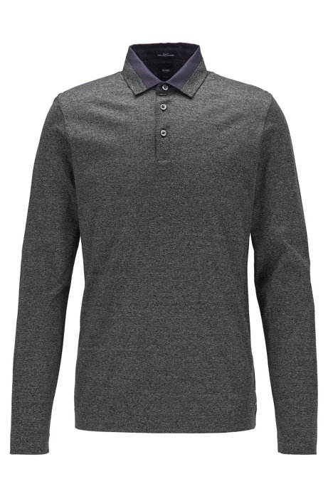 Slim-fit polo shirt in Italian mouliné cotton, Black