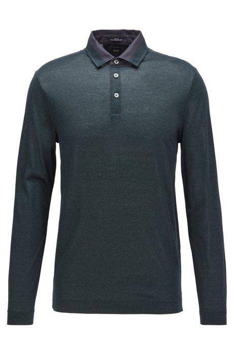 Slim-fit polo shirt in Italian mouliné cotton, Open Green