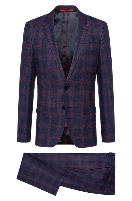 Extra-slim-fit suit in checkered virgin wool, Dark Blue