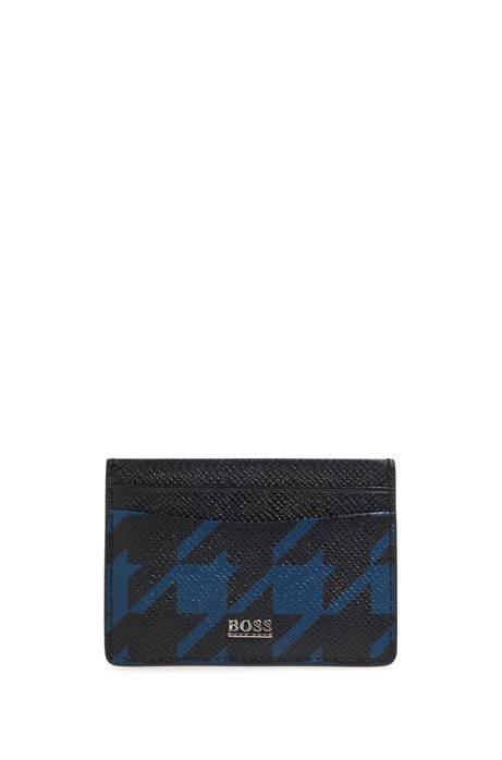Signature Collection card holder in palmellato leather with houndstooth motif, Patterned