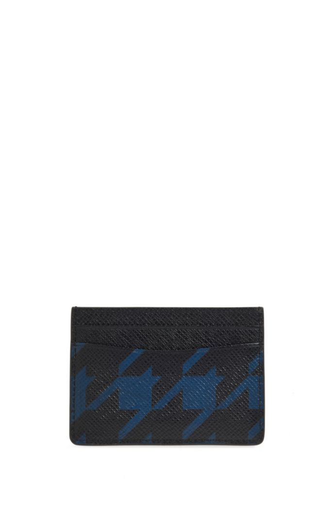 Signature Collection card holder in palmellato leather with houndstooth motif