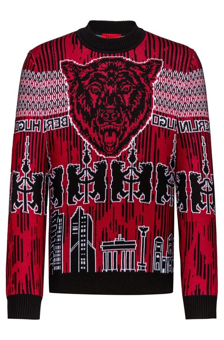 Oversized-fit knitted sweater with Berlin motifs, Red
