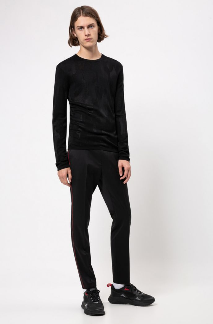 Slim-fit sweater in collection jacquard with tonal pattern