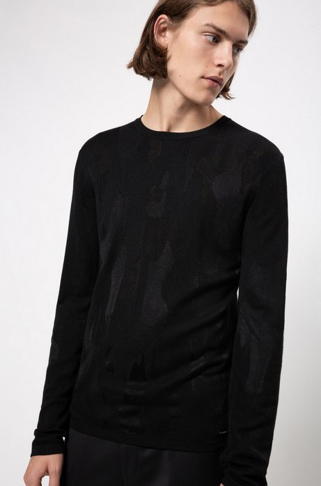 Slim-fit sweater in collection jacquard with tonal pattern, Black