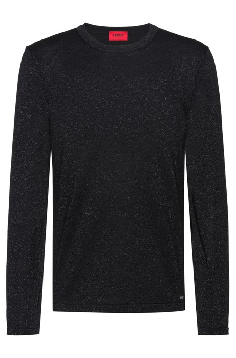 Knitted sweater in a wool blend with metalized yarns, Black