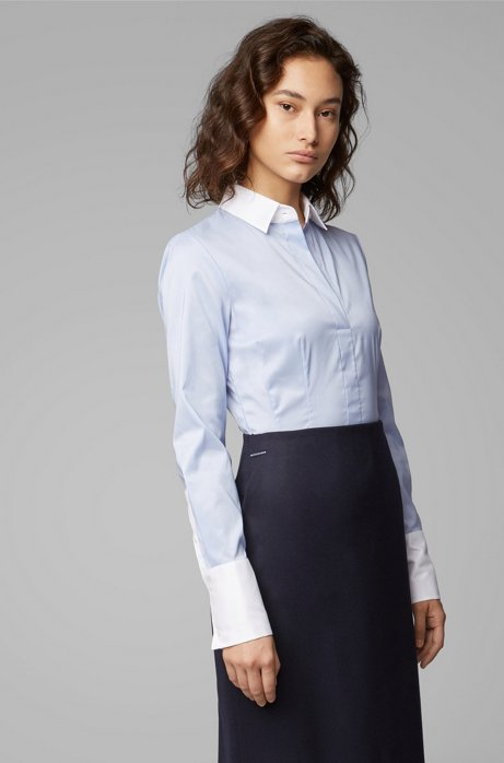 Slim-fit blouse with contrast collar and cuffs, Light Blue