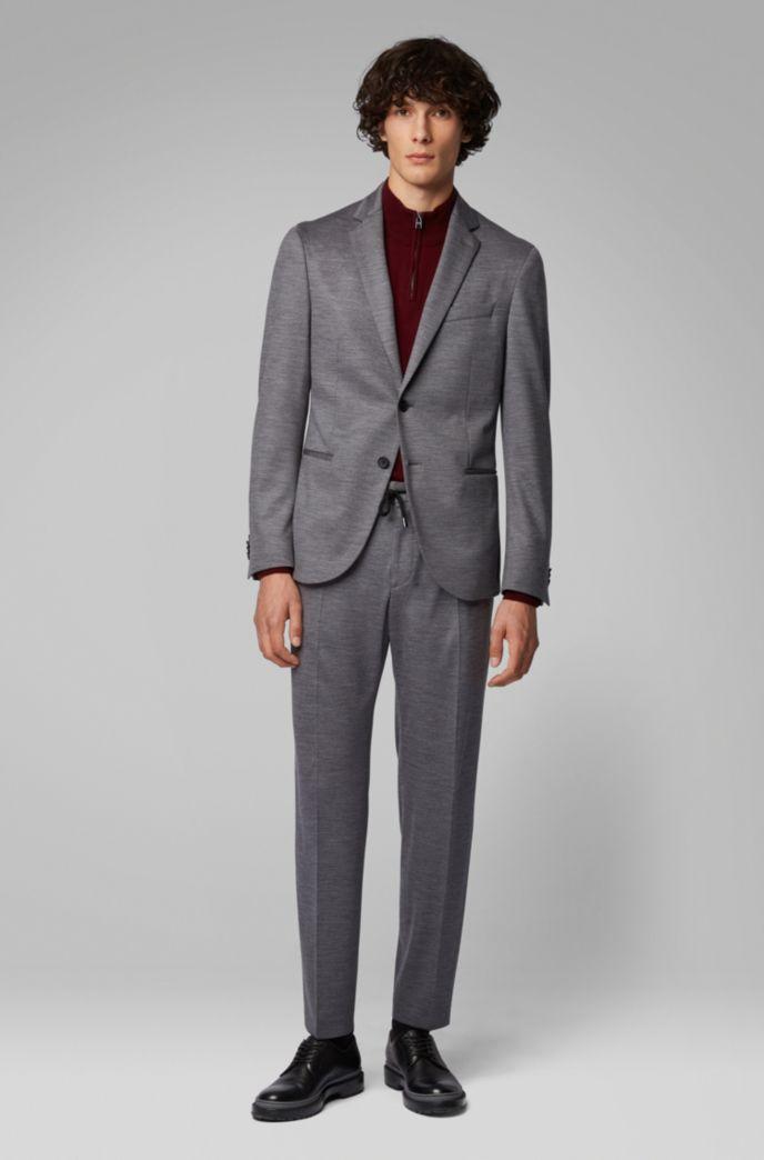 Slim-fit melange pants in traceable merino wool