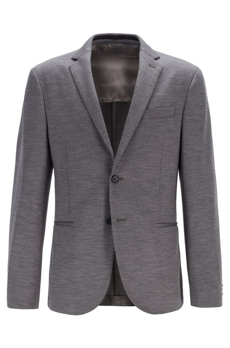 Slim-fit jacket in traceable Italian merino wool, Grey