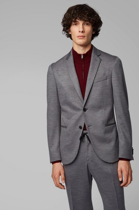 Slim-fit jacket in traceable Italian merino wool, Grey