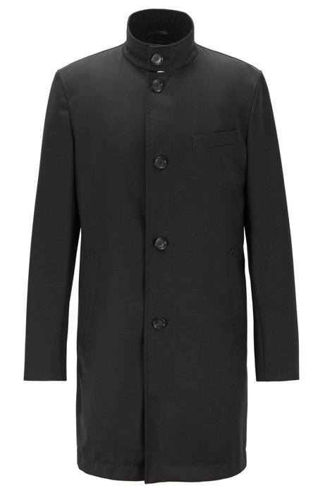 Slim-fit coat in traceable merino wool, Black