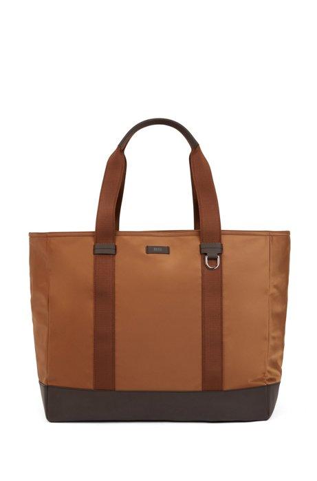 Color-blocked tote bag in Italian nylon, Khaki