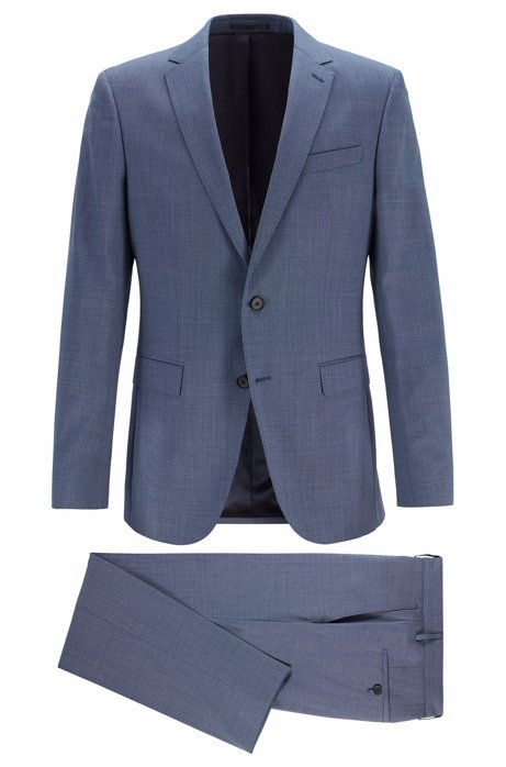 Micro-patterned slim-fit suit in traceable merino wool, Open Blue