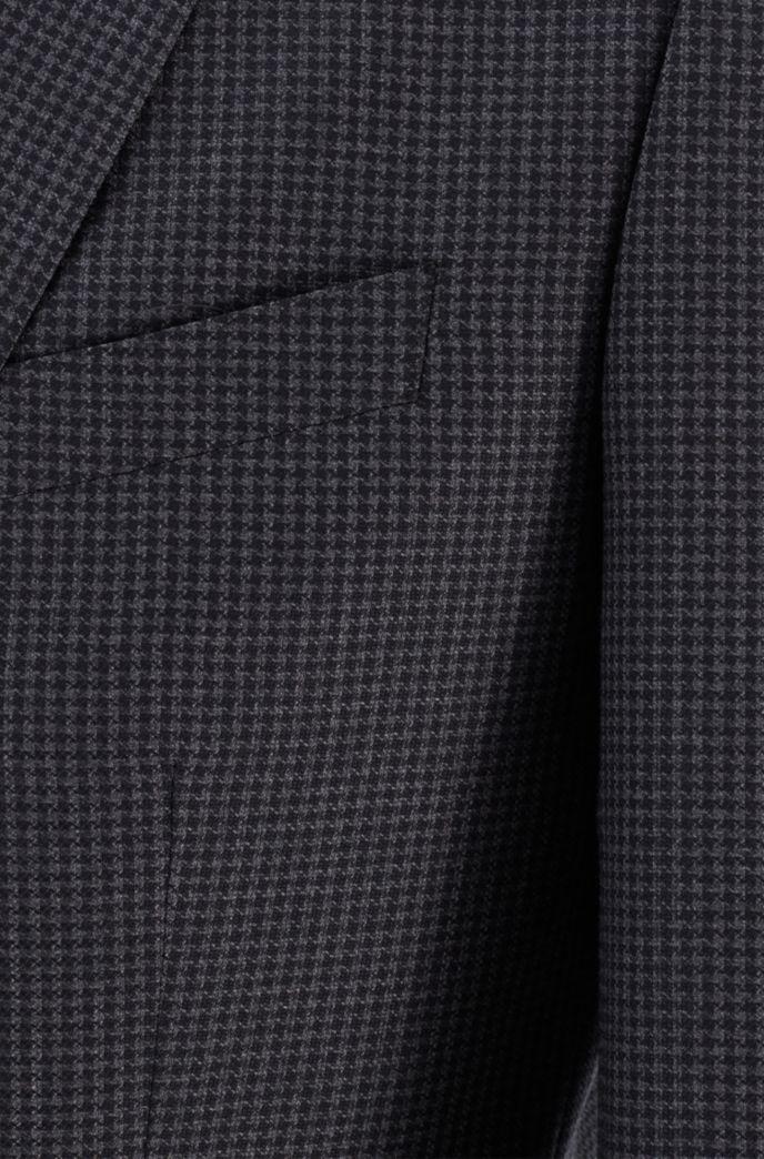 Patterned slim-fit suit in traceable merino wool