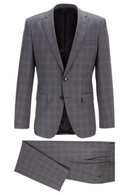 Checked slim-fit suit in traceable merino wool, Open Grey