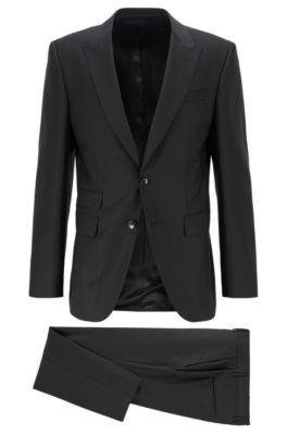 Striped slim-fit suit in traceable merino wool, Black