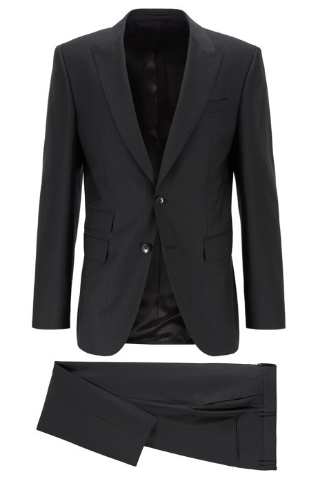 Striped slim-fit suit in traceable merino wool, Black