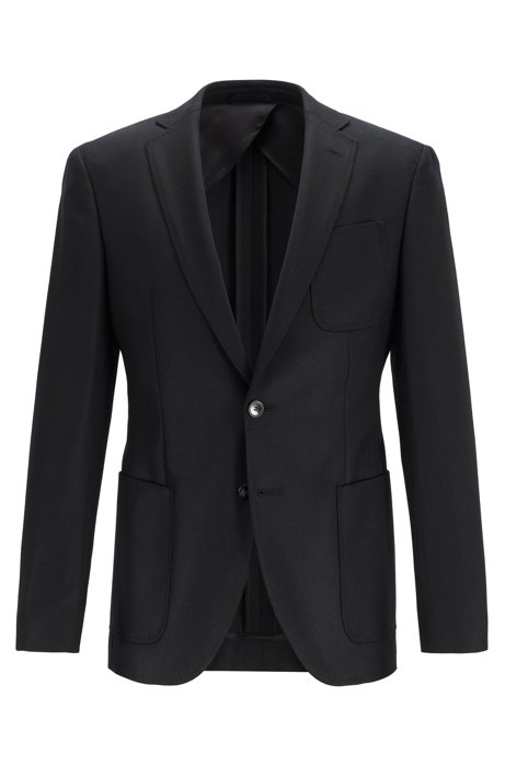 Extra-slim-fit jacket in traceable Italian merino wool, Black