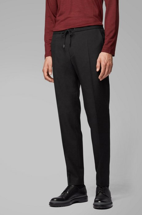 Slim-fit pants in traceable wool with drawstring waist, Black