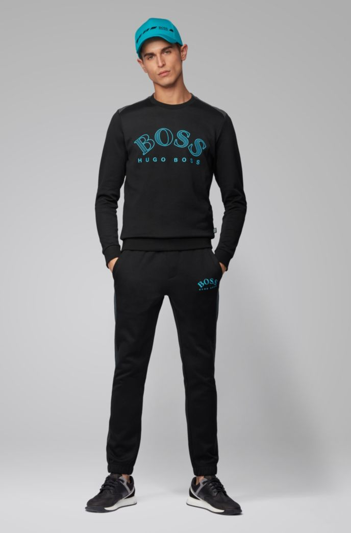 Cotton-blend sweatshirt with curved logo embroidery