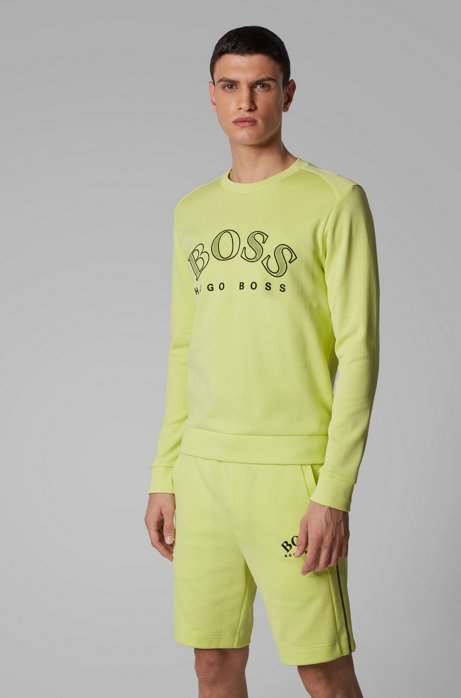 Cotton-blend sweatshirt with curved logo embroidery, Light Green