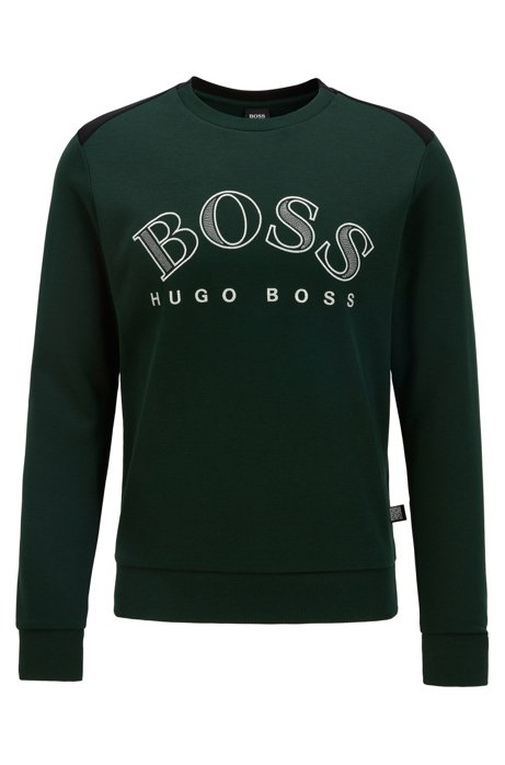 Cotton-blend sweatshirt with curved logo embroidery, Open Green