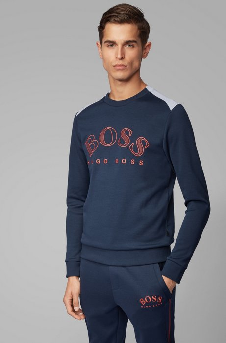 Cotton-blend sweatshirt with curved logo embroidery, Dark Blue