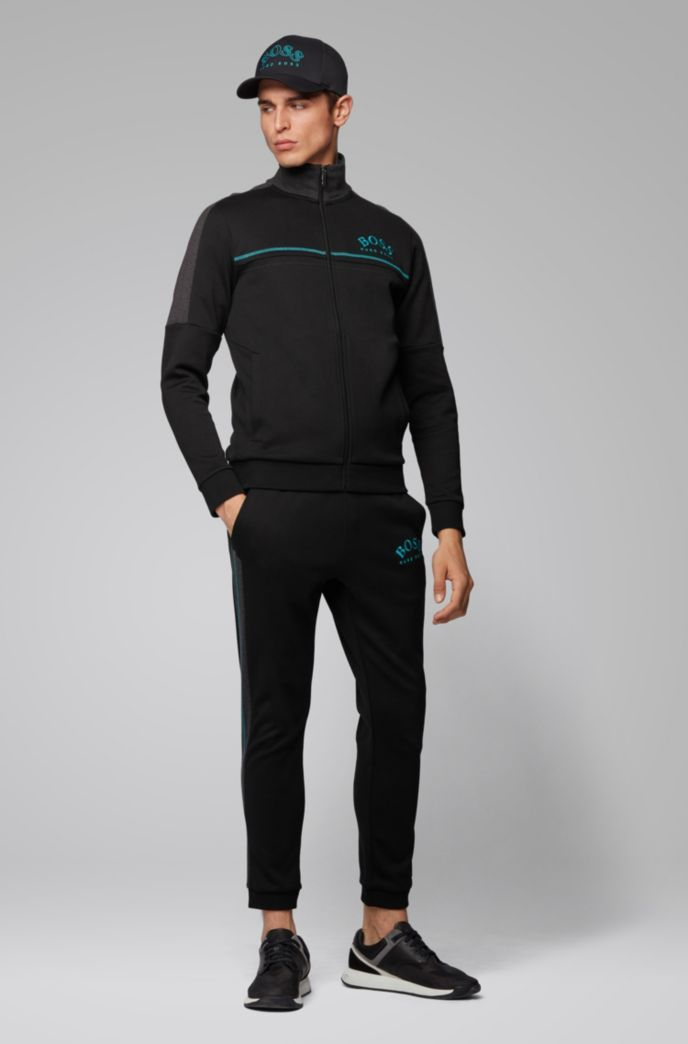 Regular-fit sweatshirt with curved logo