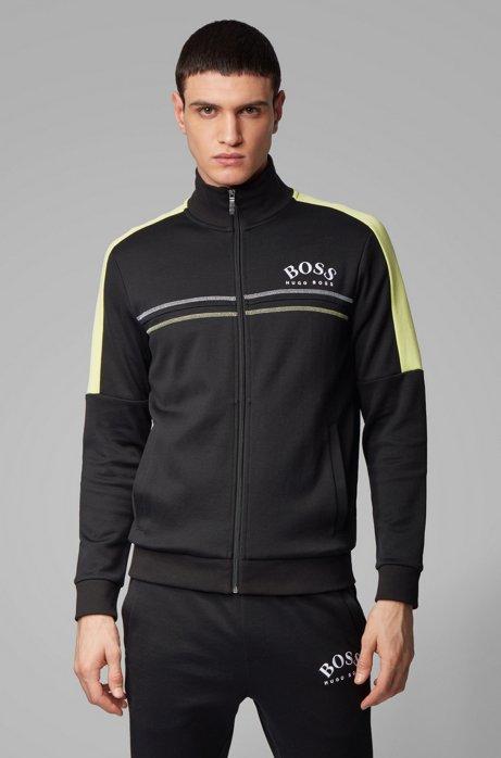 Regular-fit sweatshirt with curved logo, Black