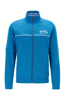 Regular-fit sweatshirt with curved logo, Blue