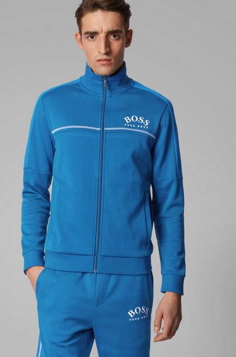 Regular-fit sweatshirt with curved logo, Blue