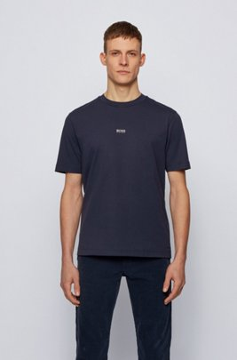 Relaxed-fit T-shirt in stretch cotton with layered logo, Dark Blue
