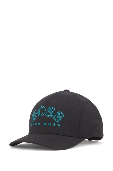 Double-twill cap with curved logo embroidery, Black