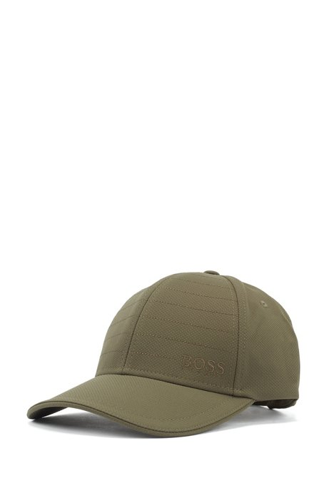 Water-repellent cap in mid-weight laminated dobby, Dark Green