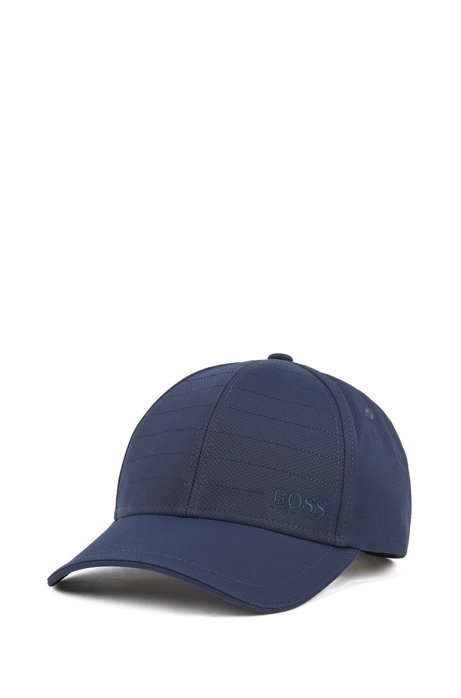 Water-repellent cap in mid-weight laminated dobby, Dark Blue